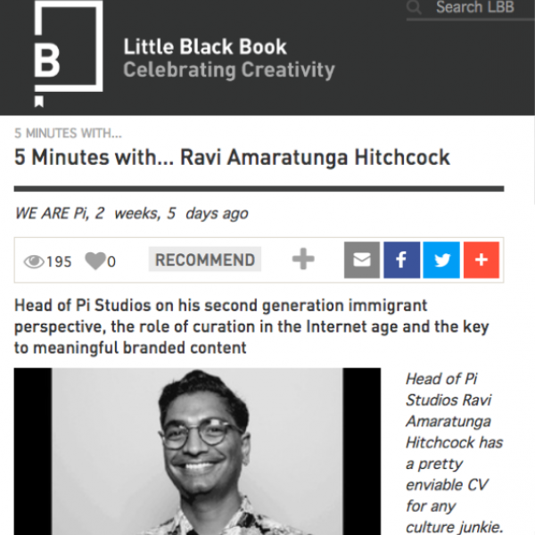 Little Black Book - In-depth look into Ravi Amaratunga Hitchcock's (Head of Pi Studios) career to date, October 2018