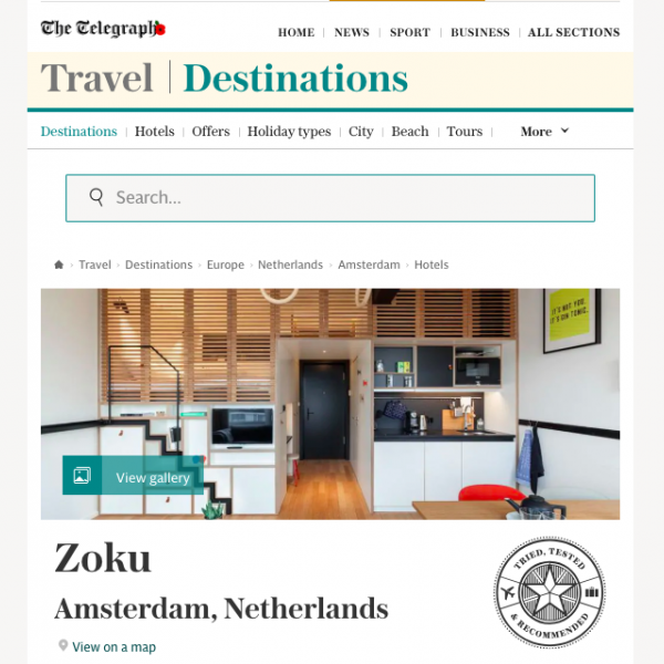 The Telegraph, travel destinations - Zoku Amsterdam