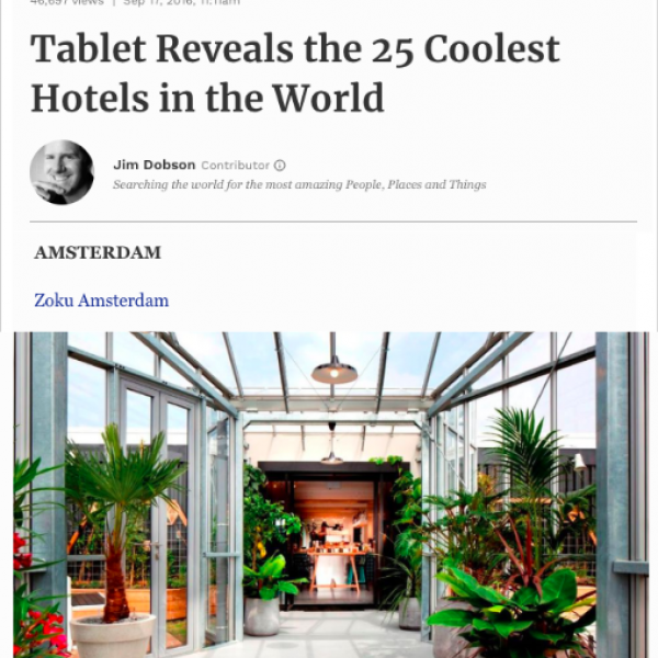 Forbes - 25 Coolest Hotels in the World, Zoku, September 2016