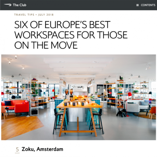 The club, British Airways inflight magazine - 6 of the best workplaces whilst on the move, Zoku, July 2018